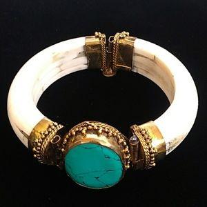 VINTAGE Carved Bone Turquoise Brass Hinged Bangle